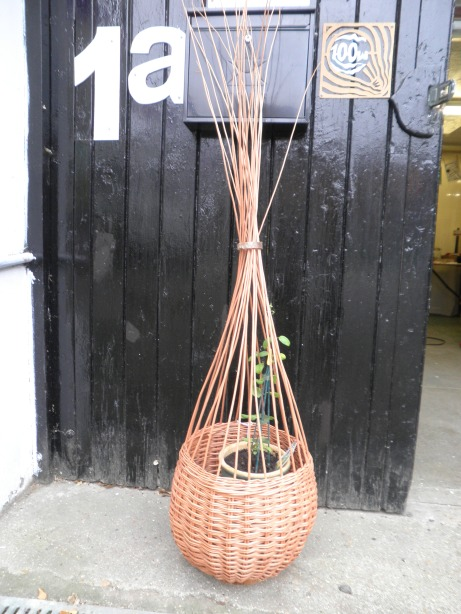 plant climber made using buff will, it has a log stump as its base